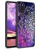 YINLAI Samsung Galaxy A21S Hülle,Samsung A21S Handyhülle Lila Mandala Nebula Muster Design leuchtet im Dunkeln,rutschfeste Fallschutz Kratzfest TPU Bumper dünne Stylische Schutzhülle für Samsung A21S