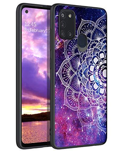 YINLAI Samsung A21S Hülle, Samsung A21S Handyhülle dünne Stylische Leuchtend Lila Mandala Nebula Pattern Muster Hülle, Ultra-dünne stoßfest Kratzfest TPU Stoßstange Schutzhülle für Samsung A21S