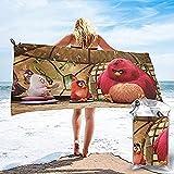 QWAS Angry Birds Beach - Toalla de baño (05,80 x 130 cm), diseño de pájaros y cerdos