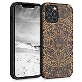 kwmobile Carcasa Compatible con Apple iPhone 12 Pro MAX - Funda de Madera de Cerezo con Bumper de Silicona Calendario Azteca