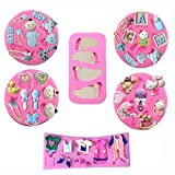 wopodi 6 pieces baby silicone fondant cake mold, baby infant clothes feet birthday fondant candy