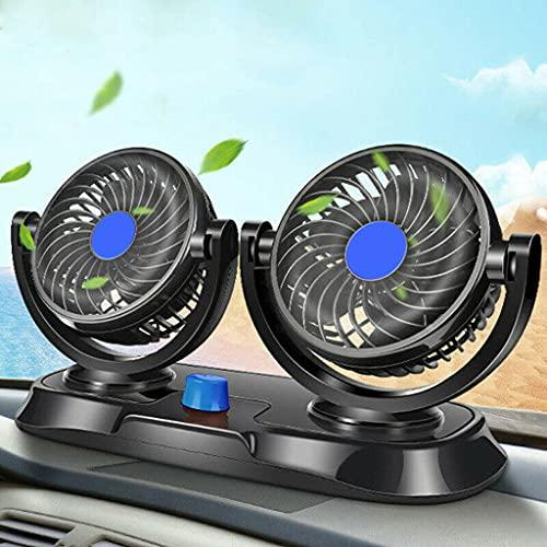 Ventilador de coche giratorio de 360 ° y 12 V, ventilador eléctrico de doble cabeza para asiento de coche, ventilador de refrigeración portátil, mini ventiladores para carrito de golf