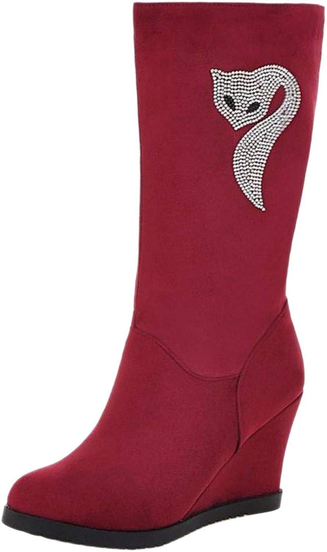 FANIMILA Women Wedge Heel Mid Calf Boots Pull On