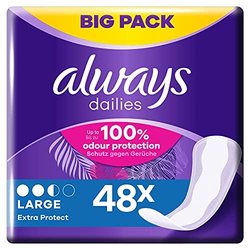 Always Dailies Slipeinlagen Damen Large Extra Protect (48 Einlagen), Giga Pack, Atmungsaktiv, Flexibel & Bequem, Mit Saugfähigem Kern