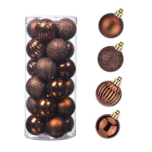 Christmas Balls, 24pcs 1.57' Small Size Christmas Tiny Ornaments Hanging Christmas Home Decorations for Home House Bar Party(Brown)