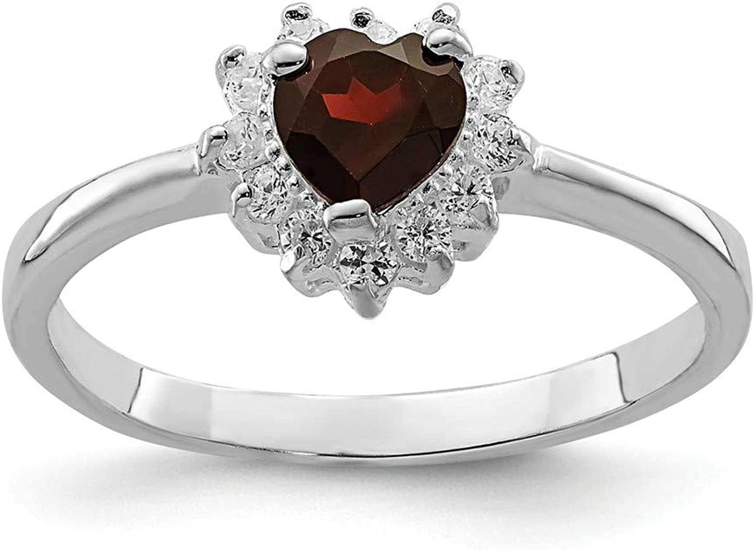 Beautiful Sterling silver 925 sterling Sterling Silver Rhodiumplated Garnet & CZ Heart Ring