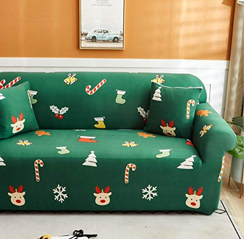 Fundas Sofas 3 y 2 Plazas Ajustables Impresión Verde Fundas Sofa Elasticas,Funda de Sofa Chaise Longue,Moderna Cubre Sofa,La Funda para Sofa Jacquard de Poliéster (195-230cm)