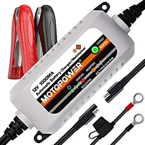 MOTOPOWER MP00205B 12V 1000mA Mantenedor de cargador de batería completamente automático