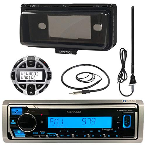 "Kenwood MP3/USB/AUX Marine Boat Yacht Stereo Receiver Bundle Combo With Protective Cove, Wired Remote Control, Enrock Water Resistant 22 Radio Antenna, Outdoor Rubber Mast 45"" Antenna"