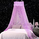 Jeteven Bed Canopy Lace Mosquito Net with Stars...