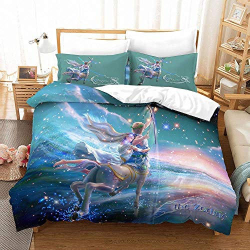 JXSMYT Juego de cama con diseño de anime y cielo estrellado con impresión digital 3D, para niñas, 2/3 piezas, 10,135 x 200 cm + 1 x 50 x 75 cm