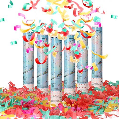 com-four® 6X Riesen XL Shooter Party Popper-Set 30cm, Konfetti-Kanone zum Drehen für Silvester, Partys, Geburtstage, Konfetti Bombe mit 6m Effekthöhe (06 Stück - bunt 30cm)