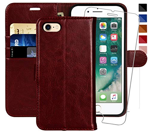 iPhone 6 Wallet Case/iPhone 6s Wallet Case,4.7-inch, MONASAY [Glass Screen Protector Included] Flip Folio Leather Cell Phone Cover with Credit Card Holder for Apple iPhone 6/6S (Burgundy)