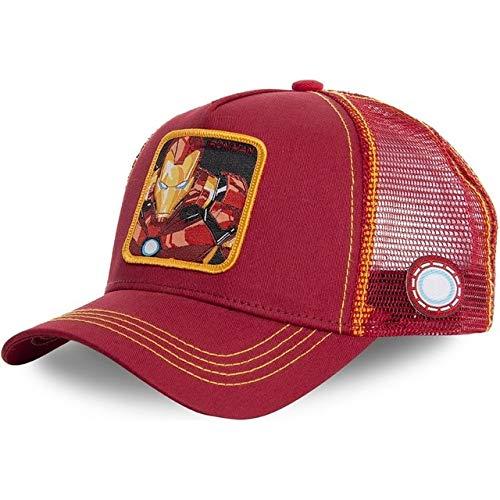 Gorra de béisbol de algodón Snapback Hombres y Mujeres, Gorra de Camionero de Malla de papá Hip Hop-Iron Man Red