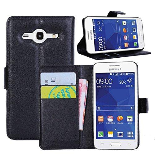 Ycloud Tasche für Samsung Galaxy Core 2 / Core 2 Duos (G355H, 4.5 Zoll) Hülle, PU Ledertasche Flip Cover Wallet Case Handyhülle mit Stand Function Credit Card Slots Bookstyle Purse Design schwarz