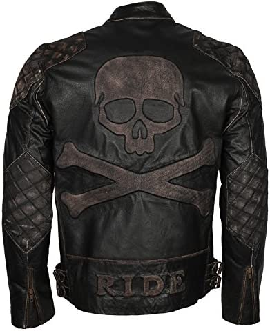 Men Skull Embossed Vintage Black Motorcycle Leather Jacket XL to fit chest 46 47 product image