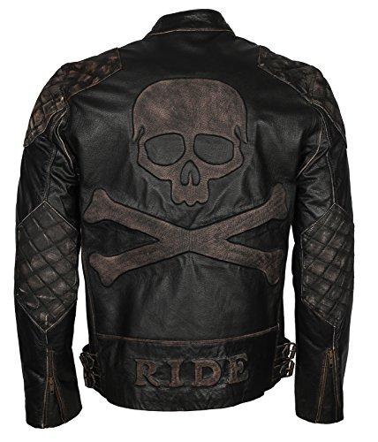 "Men Skull Embossed Vintage Black Motorcycle Leather Jacket (2XL - to fit chest 48-49"")"