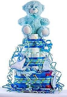 Flores AVRIL ofrece: tarta de pañales para bebé niño. Un regalo original para el bebé recién nacido, incluyendo 30 pañales de la marca DODOT más peluche más calcetín más toallas DODOT más toalla facial