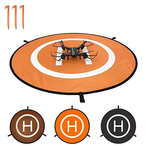Oriolus Drone Landing Pad 43 inch Collapsible Landing Mat for DJI Tello Mavic Phantom 3 4 Spark Mavic 2 Pro Zoom Air (Orange Black)