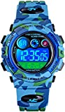 Kids Sport Watches LED Electronic Digital Watch Multifunction 50M Waterproof 2 Time Stopwatch Colorful Backlight Wristwatch (B Blue Camouflage)