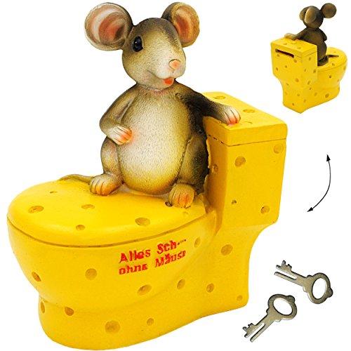 große Spardose -  Alles Sche ... ohne Mäuse  - mit Schlüssel & Schloß - stabile Sparbüchse - aus Kunstharz / Polyresin - Maus auf dem WC - Sparschwein - für..
