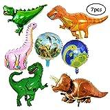 SIMUER 7 Pack Riesen Dinosaurier Folienballon Wiederverwendbare Heliumballons Set Foil