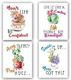 Adorable Cactus Succulent Uplifting Wall Art Decor Sayings,Kids Inspirational Decor,Cactus Wall Art Prints - Inspirational Wall Art for Kids - Funny inspirational Quotes Painting Art - Succulent Botanical Prints For Kids Room Nursery Decor(Set of 4) - No Frame,8'x10'…