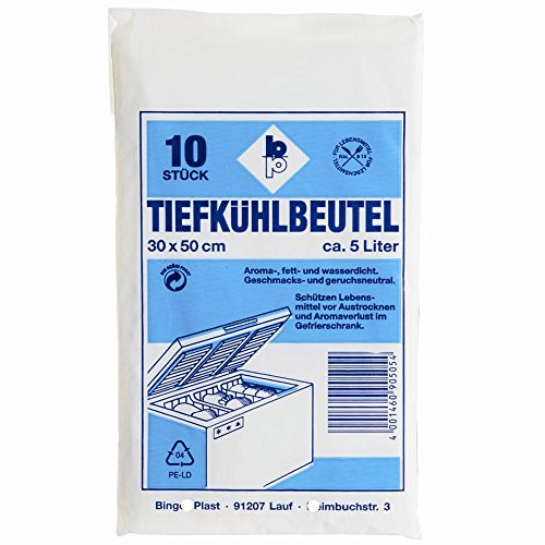 Tiefkuehlbeutel (Fuer Kuehlschrank und Gefriertruhe * L x B: 30 x 50 cm, 5 Liter, 10 Stueck)