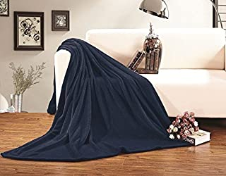 Elegant Comfort Micro Fleece Ultra Plush Luxury Solid Blanket, King/California King, Navy