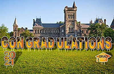 Graduation Decoration Outdoor Yard Signs - 15pcs Big Size 15'' Letters & 1pc 15'' 2021 Sign & 1pc 9.5'' Grad Caps - Gold and Black Congradulations for School Grad Outdoor Lawn Decorations with Stake
