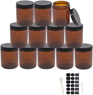 BPFY 12 Pack 8 oz Round Amber Glass Cosmetic Jars with Black Lids, Spatula, Chalk Labels, Pen, Candle Holder, Refillable C...