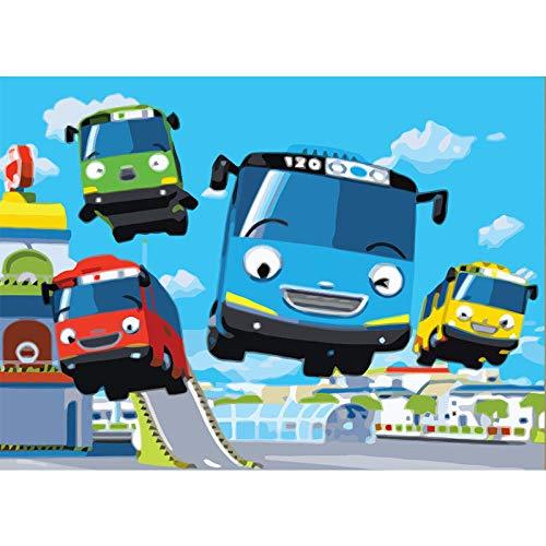 Zhonchng DIY Schilderen door Aantal Kits,Cartoon Bus Olieverf Tekenen Canvas met Borstels Kerstmis Decor Decoraties Geschenken - 16 * 20 Inch Met frame
