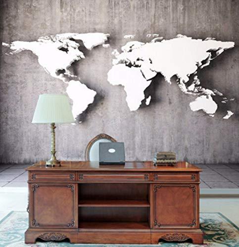 Cczxfcc Klantspecifieke vintage stereoscopische wereldkaartgroot wandschilderij 3D wandschilderij voor wand 3D wandschilderij Europese vergelijkbare woonkamer bank achtergrond 140 cm x 100 cm.