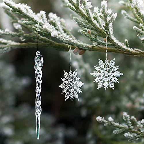 Naler 20 Copos de Nieve Navideños y 10 Carámbanos Plásticos Transparentes para Decoración de Árboles de Navidad