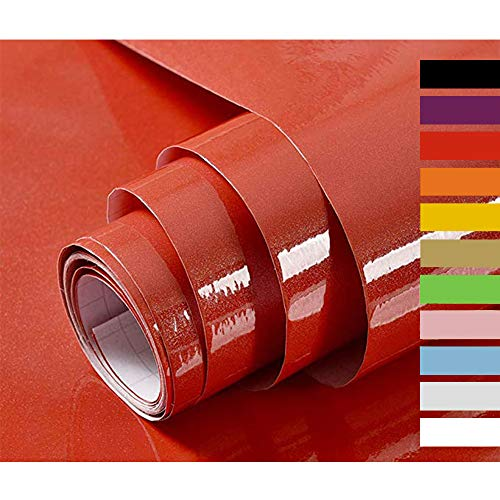 Hode Papier Adhesif pour Meuble Cuisine Porte Mur Stickers Meuble Vinyle Autocollants Meuble Rouge 40cmX300cm