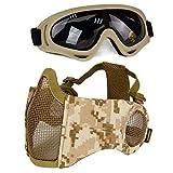 Aoutacc Airsoft - Juego de máscaras de malla de media cara con protección para los oídos y gafas para CS/caza, paintball, tiro (DD)
