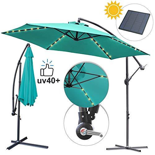 Hengda Alu Sonnenschirm Terrassenschirm mit 48 LED Licht Solar Garten Schirm Pavillon Ständer, Höhenverstellbar, Klappbar, UV-Schutz 40+ (Ø 350cm Himmelblau mit Solar LED)