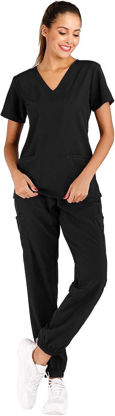 Minty Mint Women's Solid Stretch Medical V Scrub Set Uniform 正規品 Nec 休日