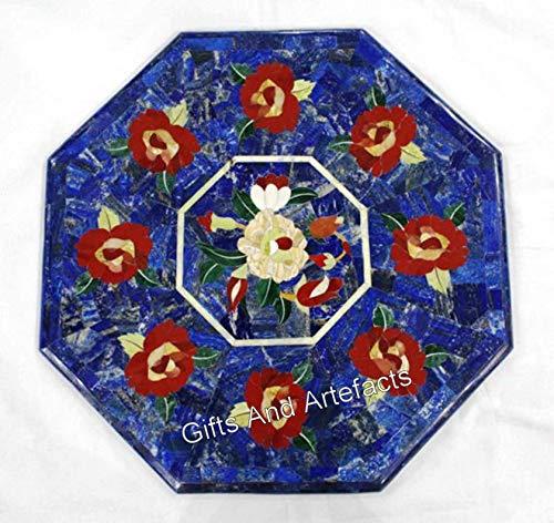 Mesa de centro de mármol con incrustaciones de lujo patrón sofá mesa lateral para decoración del hogar 16 pulgadas