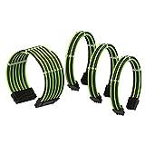 LINKUP - Cable con Manguito - Prolongación de Cable para Fuente de Alimentación con Kit de Alineadores | 1x 24 Pines (20+4) MB | 1x 8 Pines (4+4) CPU | 2X 8 Pines (6+2) GPU | 50CM 500MM - Verde Negro