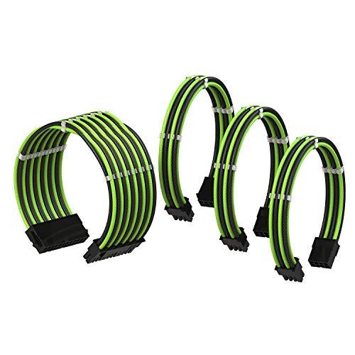 LINKUP - PSU Kabelverlängerung Ummantelt GPU Nach Maß PC Stromversorgung mit Kamm-Kit| 1x 24 P (20+4) | 1x 8 P (4+4) CPU | 2X 8 P (6+2) GPU Set | 30CM 300MM – Grün Shwarz