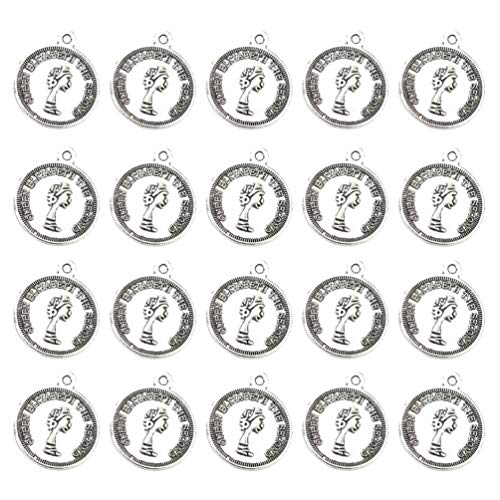 TENDYCOCO 50pcs British Queen Coin Necklace Pendants Alloy Charms Jewelry Making Accessory for DIY Crafts (Antique Silver)