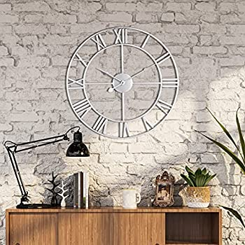 Wall Clocks for Living Room Decor 60cm/24inch  Silver  Retro Roman Numeral Large Wall Clock Modern Round Silent Non Ticking Silent Metal Clock for Living Room Decor ,Bedroom, Kitchen