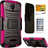 Alcatel One Touch Pop Astro 5042T (T-Mobil) / Alcatel one Touch PIXI Charm LTE A45OL (strighttalk) Case, Hybrid Armor Stand Case with Holster and Locking Belt Clip Accessory (Holster Pink)