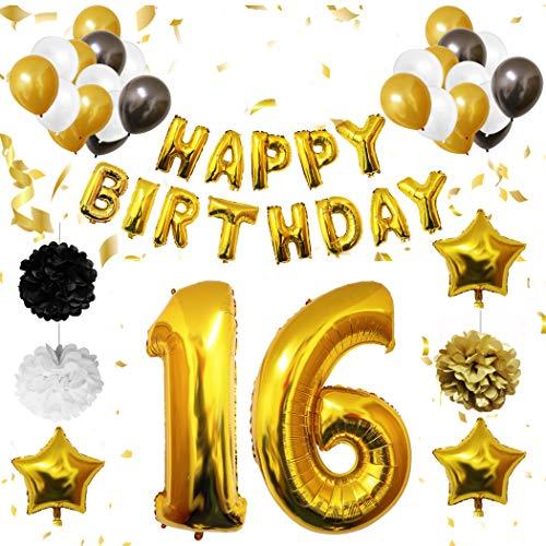 16 Geburtstag Dekoration - 16. Geburtstag Luftballons Happy Birthday Banner Helium Party Luftballons Zum Party Deko Frauen Männer (16 jahre) Gold Weiße Schwarze Latex Foilen