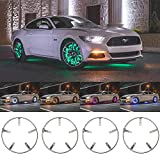 LEDGlow 4pc 15.5' Million Color LED Wheel Ring Accent Lighting Kit- Fits Wheels with 15' Brakes - Heavy-Duty & Versatile Design - Waterproof Light Strip - Includes Control Box & Wireless Remote