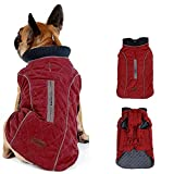 Morezi Dog Coat with Reflective strim, Winter Dog Jacket Vest Warm Puppy Coat with Harness Hole 5 Colors - S - Red