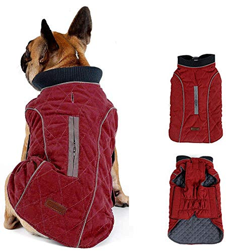 Morezi Dog Coat with Reflective strim, Winter Dog Jacket Vest Warm Puppy Coat with Harness Hole 5 Colors - XL - Red
