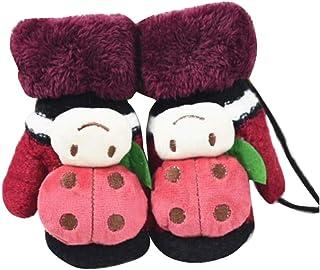 Children Winter Cute Wool Mittens, Thick Infant Warm Gloves, Ladybug Type, B01