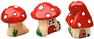 COOLTOP 3pcs (3 styles) Mini Resin Mushroom Houses Miniature Fairy Garden Bonsai Ornaments Fairy Garden Micro Landscape Decoration